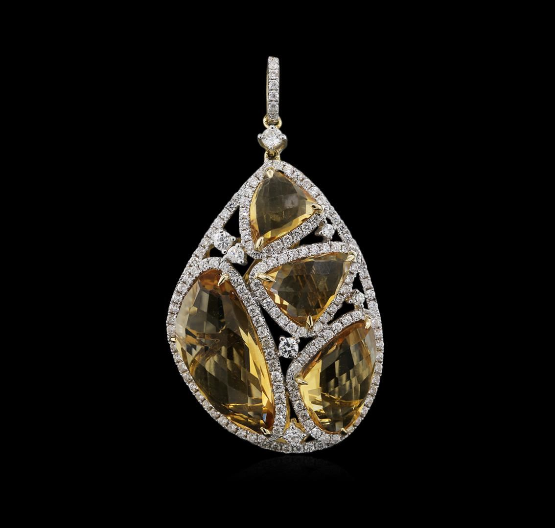 Beloved Sparkles Boutique Citrine Pear Dangle Halo Vintage Cubic Zirconia Pendant Necklace For Daily Special And Wedding Events Fashion