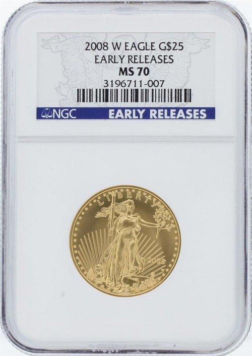 Live auction of a 2008 ms70 Early Release American Eagle $25 Coin