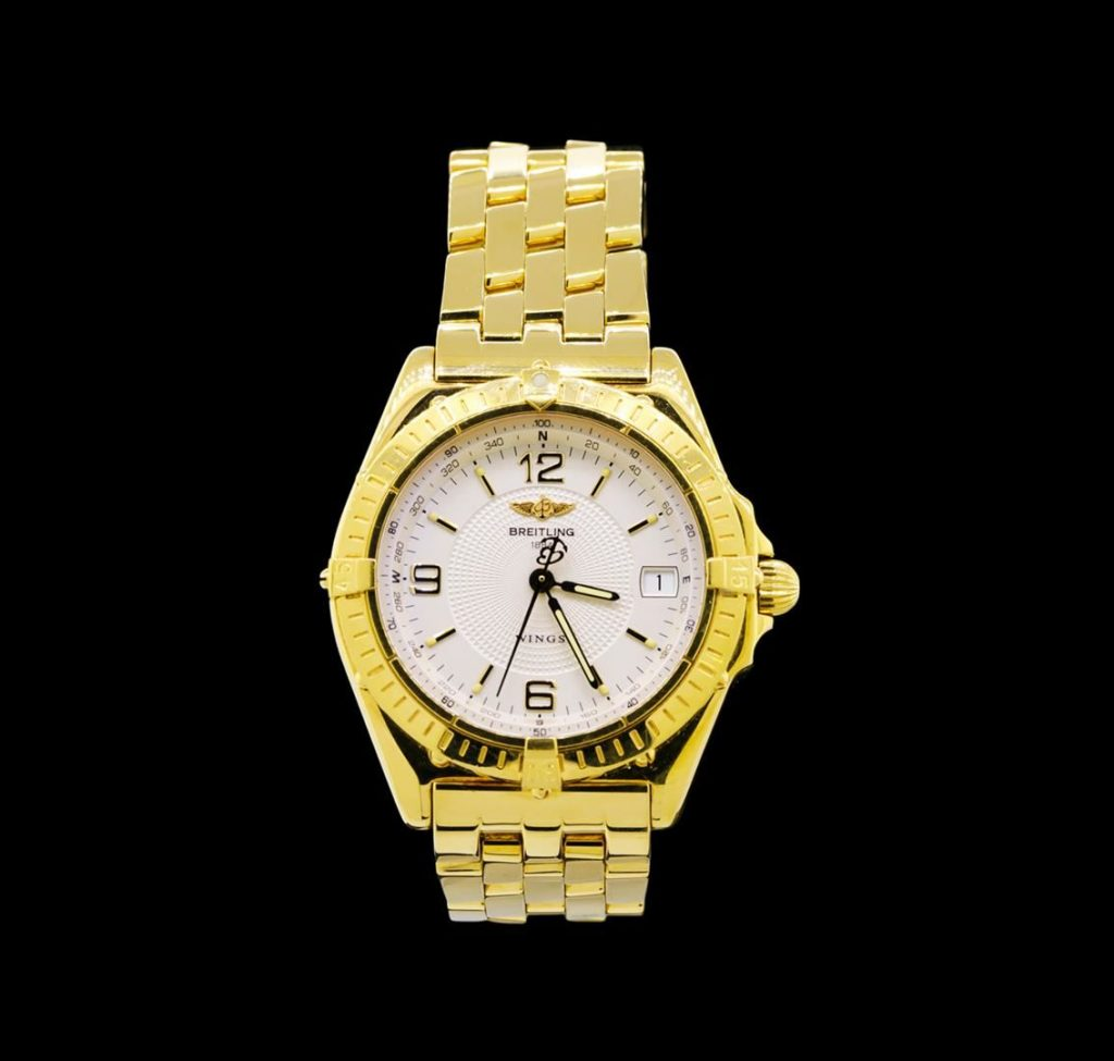 auction breitling 18kt yellow gold wings men s