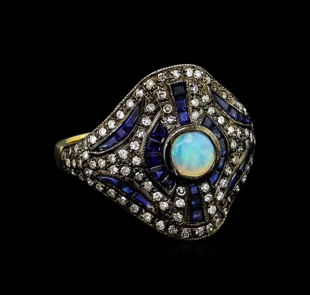 jewelry auction 1 90ctw blue sapphire opal diamond ring in 18kt yellow gold and 14kt white gold 1 76ctw diamond pendant with chain blue opal wedding rings Blue Sapphire Opal and Diamond Ring Auction