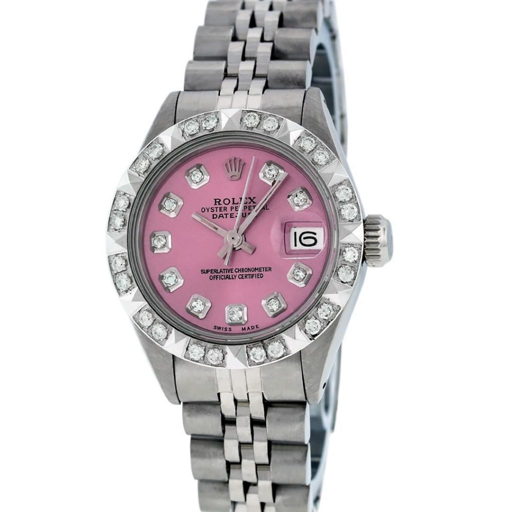 Watch Auction: Rolex Ladies SS Pink Diamond Pyramid Bezel ...